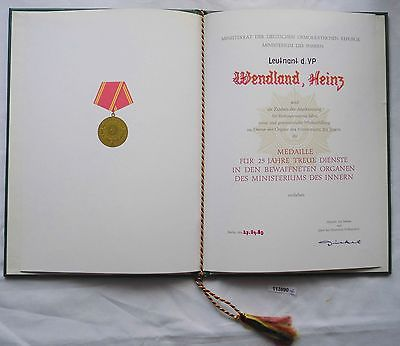 DDR Urkunde Medaille für 25 Jahre treue Dienste Ministerium des Innern (113890)