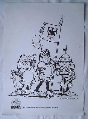Mosaik Abrafaxe Ausmalbogen mit Abrax, Brabax und Califax als Ritter um 1993