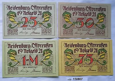 4 Banknoten Notgeld Stadt Neidenburg Ostpreussen 1921 kassenfrisch (110807)