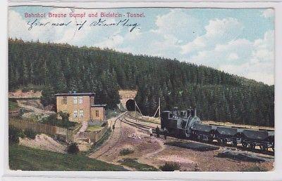 83645 AK Bahnhof Braune Sumpf und Bielstein-Tunnel mit Dampflokomotive 1910