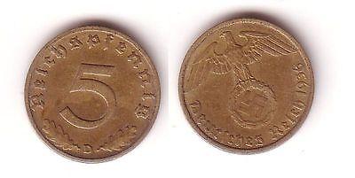 5 Pfennig Messing Münze 3.Reich 1936 D Jäger 363 (112030)