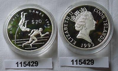 20 Dollar Silber Münze Cook Inseln Olympiade 1996 Atlanta 1993