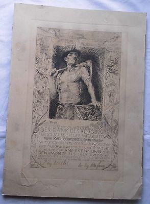 Urkunde Bergbau für 25 Jahre treue Mitarbeit Halle Saale 1934 (117566)