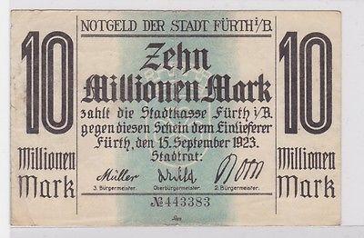 10 Millionen Mark Banknote Stadt Fürth i.B. 15.9.1923 (121256)