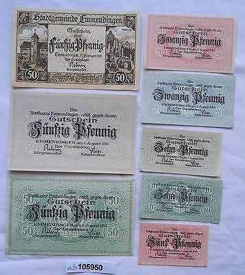 8 x Banknoten Notgeld Sparkasse Emmendingen 1917 (105950)