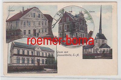 75929 Mehrbild Ak Gruss aus Grossstöbnitz S.-A. Gasthof Post Kirche Schule 1910