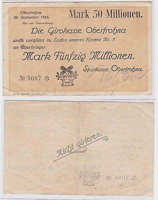 50 Millionen Mark Banknote Girokasse Oberfrohna 20.9.1923 (121632)