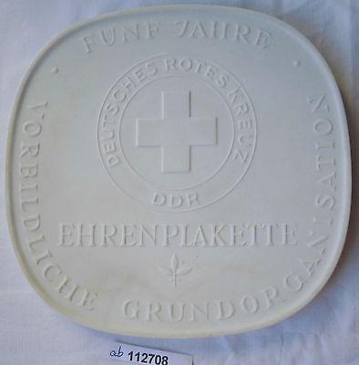 DDR Porzellan Ehrenplakette 5 Jahre DRK vorbildliche Grundorganisation (112708)