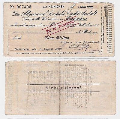 1 Million Mark Banknote Hainichen Allg.dt.Credit Anstalt 2.8.1923 (122565)