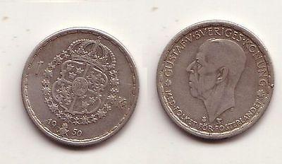 1 Krone Silber Münze Schweden 1950 (114638)