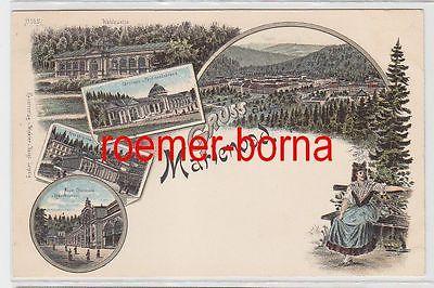 72829 Ak Lithografie Gruss aus Marienbad Neue Colonade, Kreuzbrunnen usw um 1900