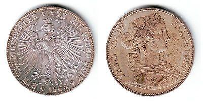1 Vereinstaler Silber Münze Freie Stadt Frankfurt 1865 (109459)