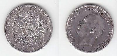 5 Mark Silbermünze Baden Großherzog Friedrich II 1908 Jäger 40  (111213)
