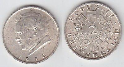2 Schilling Silber Münze österreich Schubert 1928 101388