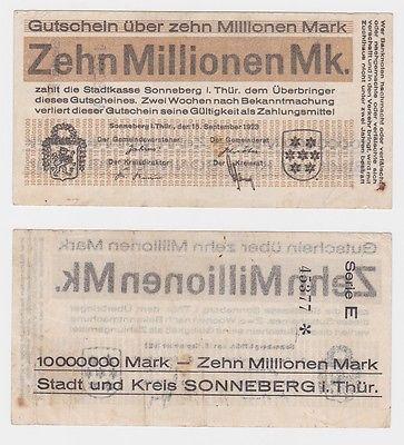 10 Millionen Mark Banknote Stadt Sonneberg in Thür. 15.9.1923 (121317)