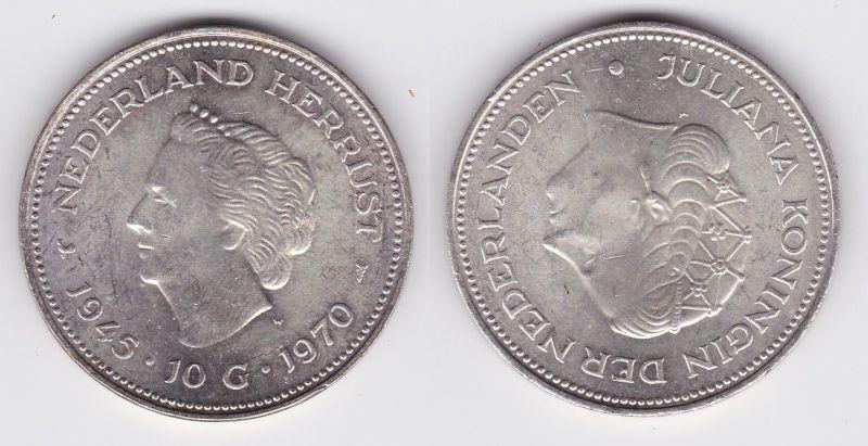10 Gulden Silber Münze Niederlande 1945-1970 (122806)