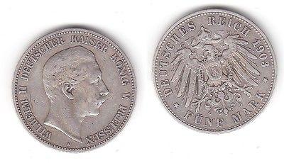 5 Mark Silbermünze Preussen Wilhelm II 1903 A Jäger 104 (113030)