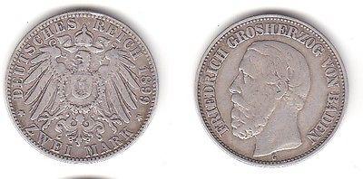 2 Mark Silbermünze Baden Großherzog Friedrich 1899 Jäger 28  (112043)