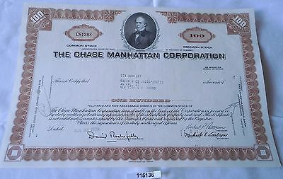 100 Dollar Aktie USA The Chase Manhattan Corporation New York 24.8.1970