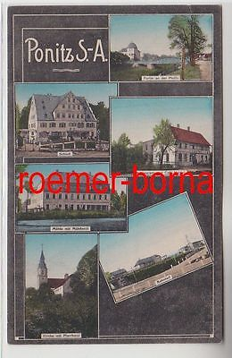 75492 Mehrbild Ak Ponitz S.-A. Mühle, Restaurant, Bahnhof usw. 1915