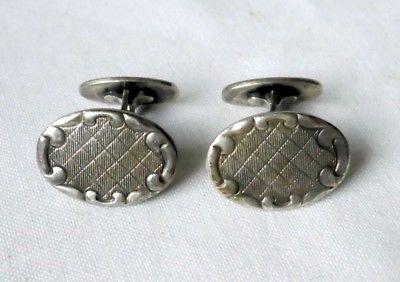 Hübsche ovale Manschettenknöpfe 835er Silber um 1930 (114071)