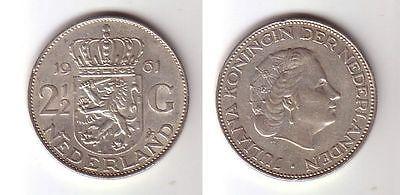 2 1/2 Gulden Silber Münze Niederland 1961 (113972)