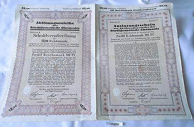 12,50 Reichsmark Aktie Stadtgemeinde Chemnitz 18.November 1929