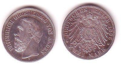 2 Mark Silber Münze Baden Großherzog Friedrich 1896 vz/Stgl. (105491)