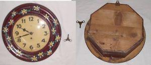 Große bemalte Wanduhr Junghans Schlüsselaufzug um 1920 (DI8016)