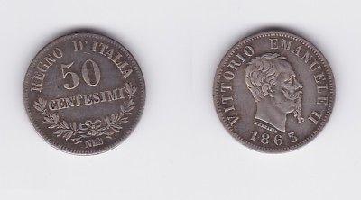 50 Centesimi Silber Münze Italien 1863 N 118060 Nr 232603168528