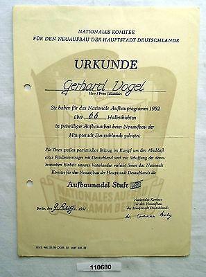 DDR Urkunde Nationales Aufbau Programm Berlin Stufe III 1952 (110680)