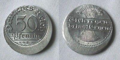 50 Pfennig Aluminium Münze Deutsches Reich 1921 E, FEHLPRÄGUNG Jäger 301(126921)