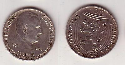 100 Kronen Silber Münze Tschechoslowakei Klement Gottwald 1951