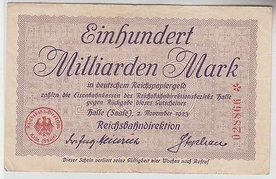 100 Milliarden Mark Inflation Banknote Reichsbahndirektion Halle 1923 (111647)