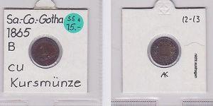 1 Pfennig Kupfer Münze Sachsen-Coburg-Gotha 1865 B (120571)