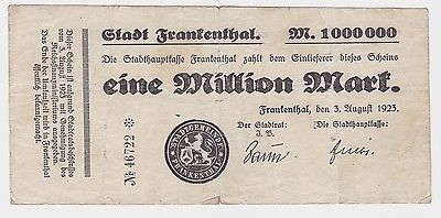 1 Million Mark Banknote Stadt Frankenthal 3.08.1923 (121953)
