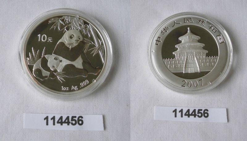 10 Yuan Silber Münze China Panda 1 Unze Feinsilber 2007 Stgl. (114456)