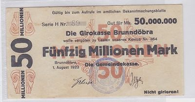 50 Millionen Mark Banknote Girokasse Brunndöbra 1.08.1923 (118808)