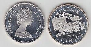 1 Dollar Silbermünze Kanada Dampflokomotive vor Landkarte von Kanada 1981(115538