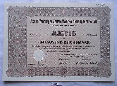 Aktie Aschaffenburg Zellstoff- & Papierfabrikation Februar 1942 (111883)