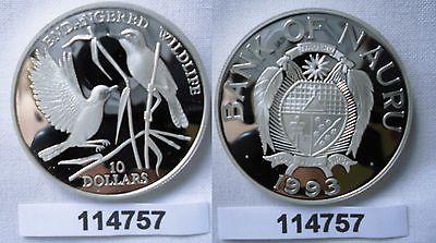 10 Dollar Silber Münze Nauru 1993 Bedrohte Tierwelt Teichrohrsänger