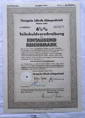 Aktie Thüringische Zellwolle AG Schwarza Saale Mai 1943 (117758)