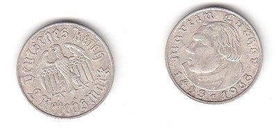 2 Mark Silber Münze 3reich Martin Luther 1933 A 115257 Nr