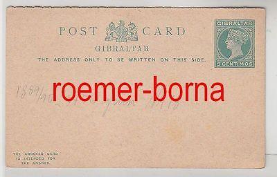 73583 seltene Ganzsachen Antwort Postkarte Gibraltar 5 Centimos grün 1889/90