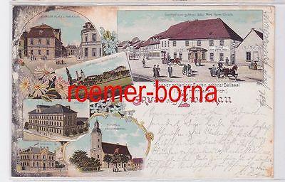 74077 Ak Lithografie Gruss aus Zwenkau Gasthof zum goldnen Adler u.a. 1906