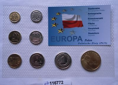 Kursmünzsatz Polen mit 8 Münzen 1 Groszy bis 2 Zloty im Blister (116772)