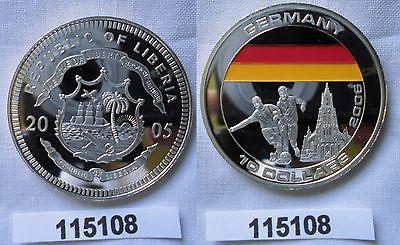 10 Dollar Farb Silber Münze Liberia 2005 Fussball Wm 2006