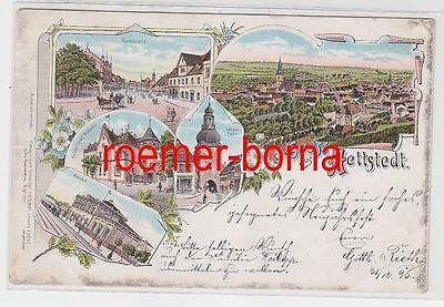 74919 Ak Lithographie Gruss aus Hettstedt Bahnhof usw. 1897
