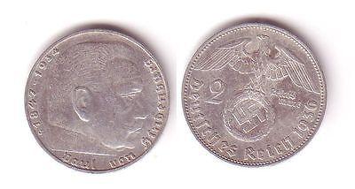 2 Mark Silber Münze 3.Reich Hindenburg 1936 J Jäger 366 (112579)