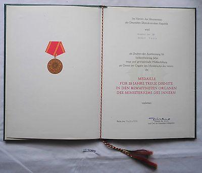 DDR Urkunde Medaille für 25 Jahre treue Dienste Ministerium des Innern (113873)